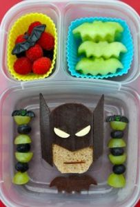 This batman bento includes fruit bats and a sandwich Batman. I'm sure any kid would appreciate it.
