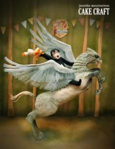 This is a cake depicting Harry riding Buckbeak. It's professionally made for display. But it's very well sculpted.