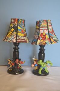 Lampshades have comics on them. Bases have action figures. Come in 2 varieties.