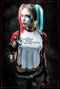 Harley Quinn is frequently seen as the sidekick and lover of the Joker. She's said to start out as a shrink who fell hopelessly in love with him. What she saw in him, I don't know.