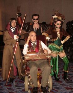 Actually these are the Steampunk X-Men. This consists of Gambit, Professor X, Wolverine, and Jean Grey. Or is it Rogue?
