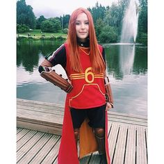 For some reason, those who dress as Ginny usually wear her Quidditch outfit. Maybe that's to distinguish her from Hermione Granger.