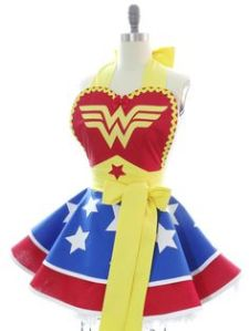 This is a Wonder Woman apron. However, as pretty it is, I'd be afraid to wear it in the kitchen.