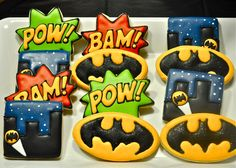 These Batman cookies were inspired by the comics. Still, I like the ones with the bat signal.