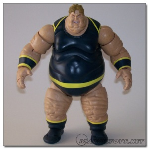 "From Cracked: ""You may remember the Blob from the Wolverine movie or your local Walmart. His mutant power is morbid obesity. This is the ""realistic"" variant for the Blob action figure, because the standard one didn't have enough chins. It even has chins all over its legs, and not one but two sets of moobs."""