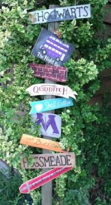 Signs consist of Hogwarts, Knight Bus, Quiddich, Diagon Alley, Ministry of Magic, Shell Cottage, the Burrow, Hogsmeade, and Godric's Hollow. Love the colors on these, too.