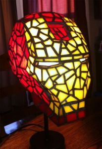 It's the lamp of Iron Man's mask. Yet it appears to be made by a bunch of stained glass pieces. Not for practical use other than lighting.