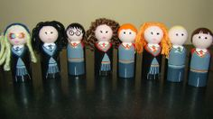 Some of these even have yarn hair on them. Includes Harry, Ron, Hermione, Ginny, Draco, Neville, Cho, and Luna.