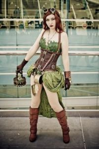 Some Steampunk incarnations will be featured on this post. This one is of Poison Ivy from Batman.