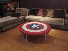 Because Captain America is a patriotic superhero. Also, a lot of his merchandise has to resemble his trademark shield.