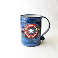 Yes, this is a patriotic coffee mug for a patriotic superhero. Let's hope Cap's brand is still around.
