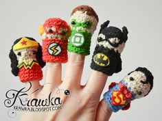 Consists of Wonder Woman, the Flash, Green Lantern, Batman, and Superman. Nevertheless, these are adorable.