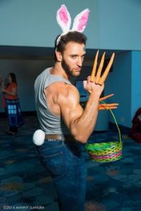 This is a cosplay that combines Hugh Jackman's characters of Wolverine and the Easter Bunny. And yes, it's hysterical.