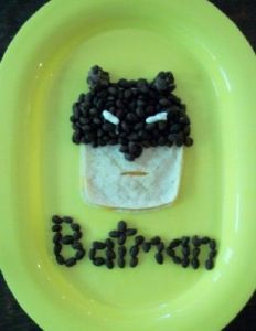 I think this might be a Batman quesadilla since it's seems to consist of a tortilla with olives. But I'm not sure.