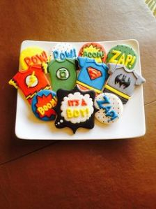 Consists of the Flash, Green Lantern, Superman, and Batman. Still, these cookies are adorable.