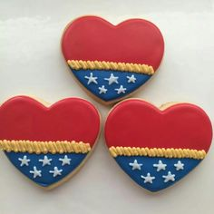 Not sure what to think of how Wonder Woman's outfit could be made into heart cookies. But these are quite clever, nevertheless.