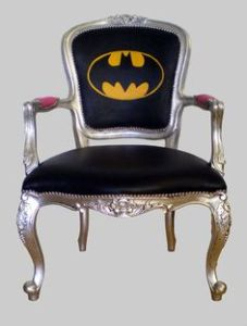 This is an ornate Batman chair. Not sure if I'd see something like this at Wayne Manor. But it probably doesn't come cheap.