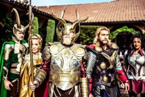 This is the Asgardian family. In mythology, Loki is Thor's step-uncle and Sif is his wife. However, Sif doesn't get much characterization though.