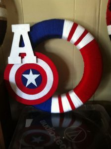 This red, white, and blue wreath has Captain America's shield. Also doubles as a 4th of July wreath.