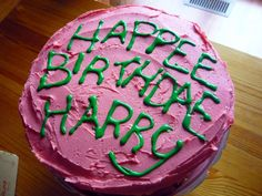This is meant to resemble the cake Hagrid gave Harry on his 11th birthday and told him that he's a wizard. Yes, I know there are words mispelled. But that's deliberate.