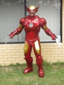 Yes, this is a combination of Wolverine and Iron Man. And yes, the claws go through the suit.