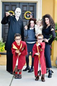 Yes, it's another Harry Potter family. But this time the parents are Voldemort and Bellatrix. And the kids consist of Harry, Ron, Hermione, and Hedwig.