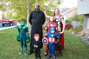Yes, this is a whole family dressing up as the Avengers. However, I almost didn't use it due to the dad wearing blackface make up. Sure he's supposed to be Nick Fury, but still. It's kind of racist.