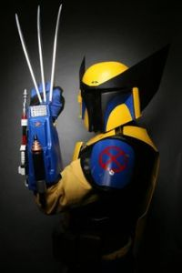This is Wolverine matched with Boba Fett from Star Wars. Has metal fangs and a jetpack.