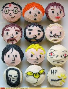 These include Harry, Ron, Hermione, Sirius, Hagrid, Dumbledore, Snape, Draco, and Voldemort. Also has a Death Eater, a Golden Snitch, and a wand.