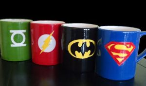 Consists of Superman, Batman, the Flash, and the Green Lantern. I'm sure these were all painted on but I could be wrong.