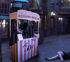 Okay, this is a kissing booth anyone should steer clear from. I mean we all know a dementor's kiss sucks the soul out of you.