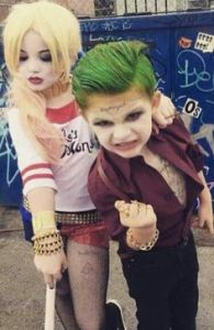 These two are dressed like the Joker and Harley Quinn from Suicide Squad. Nevertheless, since the upcoming film is certainly rated R, it's pretty disturbing.