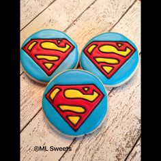 Well, these are Superman sugar cookies. But these also have blue icing on them unlike the other ones.