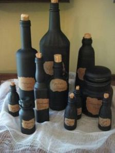This is a creative idea. Just paint them black and put labels and corks on them. Still, you wouldn't want to drink from them.