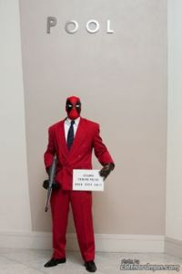 Well, at least Deadpool really knows how to dress. That suit totally matches his outfit.