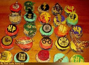 Well, these cupcakes contain stuff relating to the Harry Potter series. And they're in a variety of different colors.