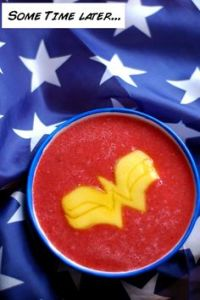 Never heard of watermelon soup before. Still, the pineapple Wonder Woman symbol looks great in it.