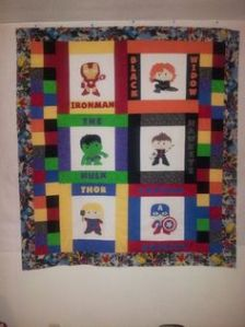It's a rather colorful Avengers quilt. Still, these little Avengers are so adorable.