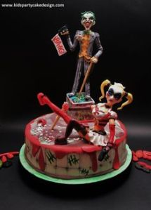 This one features Harley Quinn and the Joker who have their fans. However, not sure why anyone in their right mind would get a cake like this.