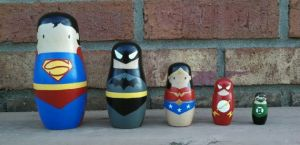 Always have to do nesting dolls for a craft post like this. Includes Superman, Batman, Wonder Woman, the Flash, and the Green Lantern.