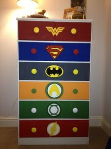 Each drawer has a superhero on it. This one consists of Wonder Woman, Superman, Batman, Aquaman, Green Lantern, and the Flash.