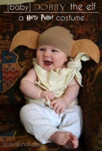 Dobby is a great costume for babies. Because Dobby is small and means well. Even if Dobby tends to be a bit misguided.
