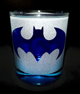 Well, it's a blue bat symbol which departs from the black one. But I like it, especially with the glitter.