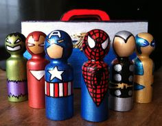 Includes Hulk, Iron Man, Captain America, Spider Man, Thor, and Wolverine. All so cute.