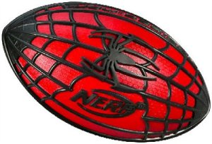 "From I-Mockery: ""... I'm not really sure what Spider-Man and football have in common unless you compare Spidey getting his power from a spider bite to a football player getting his power from 'roids. Anyway, NERF is claiming that with the special web-laced grip patterns, you'll never drop this football even if it's raining out. After all, why actually practice a sport to get better at it when you can have technology make you look way better than you'll ever truly be. And hey, since it's a NERF ball you can go all out during the big game without any fear of being hurt just like a real superhero! """