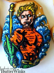 Compared to a lot of cookies I've seen this is quite ornate. However, I don't come across anything Aquaman that often. So it goes on this post.