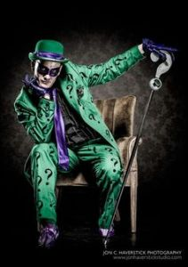 It's said the Riddler is a highly intelligent and smooth talking man with a host of personality disorders. He was also played by Jim Carrey in a movie.