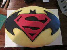 Yes, this is a Batman and Superman cake. Since there's a movie about them not getting along, I thought I'd save it for last.