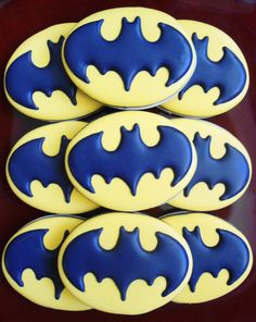 These are Batman sugar cookies with the Batman symbol on them. Will go well with the bat signal cake I showed earlier.