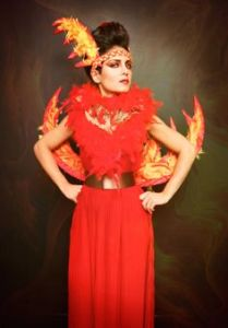 Yes, this is certainly a fiery costume all right. But it's quite lovely to look at.